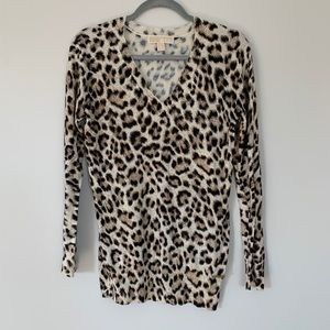 Michael Kors Cheetah Print V Neck Sweater Size XS